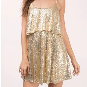 Tobi Gold Sequin Dress
